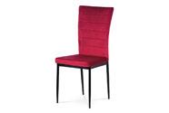 Jídelní židle, červená látka samet, kov černý mat