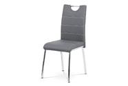 Jídelní židle - šedá ekokůže s bílým prošitím, kovová čtyřnohá podnož
