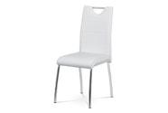 Jídelní židle - bílá ekokůže s bílým prošitím, kovová čtyřnohá podnož