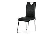 Jídelní židle - černá látka v dekoru broušené kůže, kovová čtyřnohá podnož