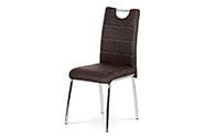 Jídelní židle - hnědá látka v dekoru broušené kůže, kovová čtyřnohá podnož