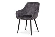 Jídelní a konferenční židle, potah černá látka v dekoru žíhaného sametu, kovové