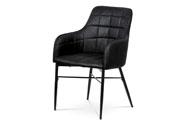 Jídelní židle, potah černá látka v dekoru vintage kůže, kovová čtyřnohá podnož,