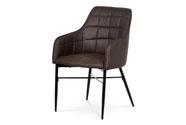 Jídelní židle, potah hnědá látka v dekoru vintage kůže, kovová čtyřnohá podnož,