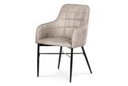 Jídelní židle, potah lanýžová látka v dekoru vintage kůže, kovová čtyřnohá podno