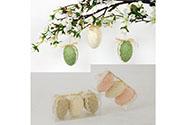 Vajíčko textilní 6cm, na zavěšení, cena za box 3 kusy,  mix barev