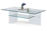 konf.stolek,10mm temperované sklo, MDF vysoký lesk bílý
