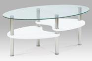 Konferenční stolek 100x60x42 cm, bílá / čiré sklo 6 mm