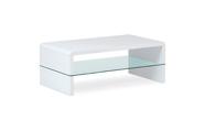 Konferenční stolek, MDF vysoký lesk bílý / čiré sklo