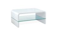 Konferenční stolek 90x60x40cm, MDF bílý vysoký lesk, čiré sklo