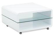 (AHG-015 WT) Konferenční stolek 80x80x40, MDF bílý vysoký lesk, čiré sklo, 4 kol