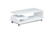 Konferenční stolek 115x60x45, bílá MDF vysoký lesk, chrom, 4 kolečka