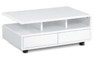 Konferenční stolek 100x60x41, MDF bílý vysoký lesk, 5 univerzální kolečka, 2 šup