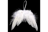 Andělská křídla z peří , barva bílá,  baleno 12 ks v polybag. Cena za 1 ks.
