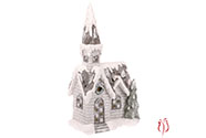 Kostelík, svítící vánoční dekorace, MgO keramika