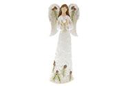 Anděl s holubičkou, dekorace z polyresinu, barva bílá