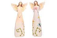 Anděl polyresinový, s květinami na šatech, mix 2 druhů, barva světle fialová a r