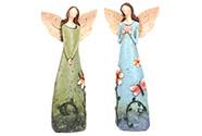 Anděl polyresinový, s květinami na šatech, mix 2druhů, barva zelená a modrá.