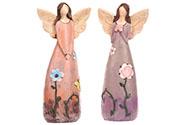 Anděl polyresinový, s květinami na šatech, mix 2 druhů, barva tmavě fialová a rů