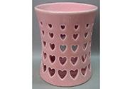 Aroma lampa s motivem srdíček, růžová barva, porcelán.