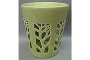 Aroma lampa, motiv strom života, zelená barva, porcelán.