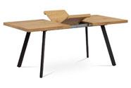 Jídelní stůl 140+40x85x76 cm, MDF deska, 3D dekor dub, kovové nohy, antracitový