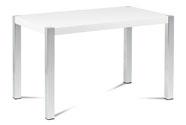 Jídelní stůl 120x75 cm, MDF deska, bílý vysoký lesk, chromované nohy