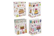 Taška dárková papírová s glitry, mix 4 druhů, cena za 1 kus
