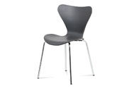 Jídelní židle, šedý plastový výlisek s dekorem dřeva, kovová chromovaná čtyřnohá