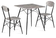 Jídelní set (1+2), MDF dekor beton, kovové čtyřnohé podnože, černý matný lak