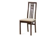 Jídelní židle, masiv buk, barva ořech, látkový krémový potah