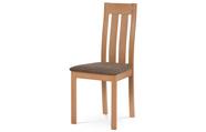 Jídelní židle, masiv buk, barva buk, látkový potah hnědý melír