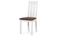 Jídelní židle, masiv buk, barva bílá, látkový hnědý potah