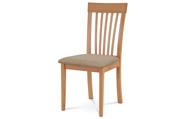 Jídelní židle, masiv buk, barva buk, látkový béžový potah