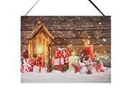 Obraz nástěnná svítící dekorace - 3 ks  LED světla, zimní motiv