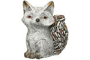 Liška, zdobená kameny  - obal na květiny z magneziové keramiky.