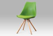 Jídelní židle, zelený plast, sedák zelená ekokůže, masivní bukové nohy