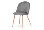 Jídelní židle - šedá sametová látka, kovová podnož, 3D dekor buk