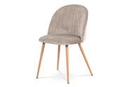Jídelní židle - lanýžovásametová látka, kovová podnož, 3D dekor buk