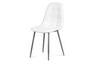 Jídelní židle, bílá ekokůže, kov antracit