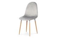 Jídelní židle, stříbrná sametová látka, kov dekor  buk