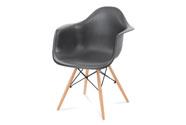 Jídelní židle, tmavě šedý plast, masiv buk, přírodní odstín, černé kovové výztuh