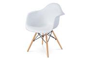 Jídelní židle, bílý plast, masiv buk, přírodní odstín, černé kovové výztuhy