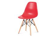 Jídelní židle, plast červený / masiv buk / kov černý