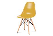 Jídelní židle, plast žlutý / masiv buk / kov černý