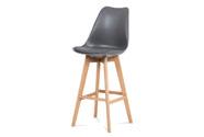 Barová židle, šedá plast+ekokůže, nohy masiv buk