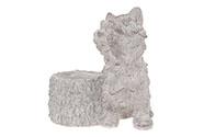 Pes, dekorace z  MgO keramiky s otvorem na květináč