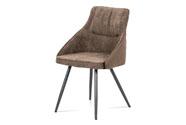 Jídelní židle, lanýžová látka+ekokůže, kov šedý mat
