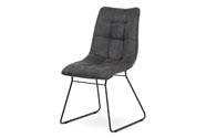Jídelní židle, potah šedá látka v dekoru vintage kůže, kovová podnož, matný čern