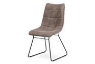 Jídelní židle, potah lanýžová látka v dekoru vintage kůže, kovová podnož, matný